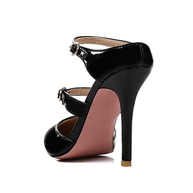 Cuero 06723022 Nudo Rojo Mujer Tacón Puntiagudo Rosa verano Primavera Dedo Stiletto Zapatos Descubierto Talón Sandalias Patentado Z66qp5