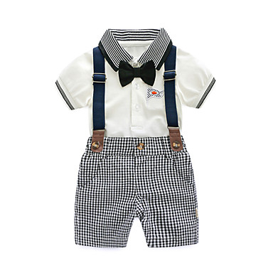 dde17cd333692 Baby Boys' Active Daily Black & White Solid Colored / Geometric Pleated  Short Sleeve Regular Regular Linen Clothing Set Gray / Toddler