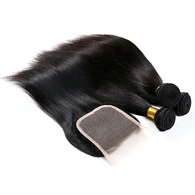 baratos Extensões de Cabelo Natural-3 pacotes com fechamento Cabelo Brasileiro Liso 8A Cabelo Humano Extensões de Cabelo Natural 8-22 polegada Côr Natural Tramas de cabelo humano extensão Venda imperdível Extensões de cabelo humano