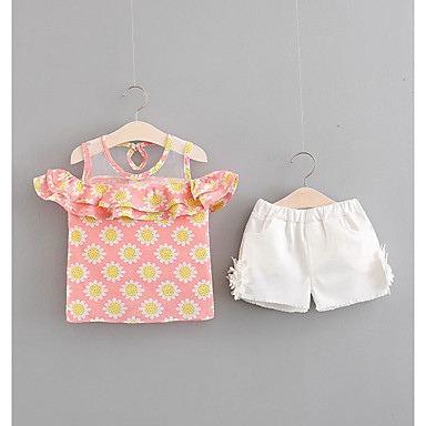 Bebelus Fete Activ Floral Fără manșon Scurt Bumbac Set Îmbrăcăminte / Copil