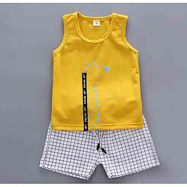 Bebelus Băieți Activ Floral / Carouri Fără manșon Set Îmbrăcăminte / Copil