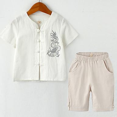 Copii Unisex Vintage / Chinoiserie Școală Mată / Jacquard Brodat Manșon scurt Bumbac / In Set Îmbrăcăminte
