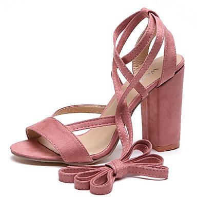 Pentru femei Pantofi cu tocuri îndoite Îmbulzesc / PU Vară Pantofi pe Gleznă Sandale Toc Îndesat Maro / Rosu / Roz / Party & Seară / Party & Seară