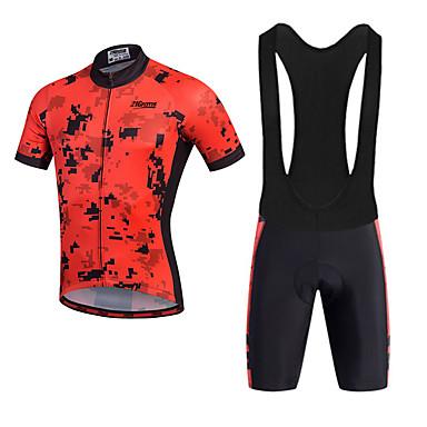 21Grams Hombre Manga Corta Maillot de Ciclismo con Shorts Bib - Rojo Bicicleta Shorts / Malla corta / Petos de deporte / Culotte con tirantes / Camiseta / Maillot, Almohadilla 3D, Secado rápido