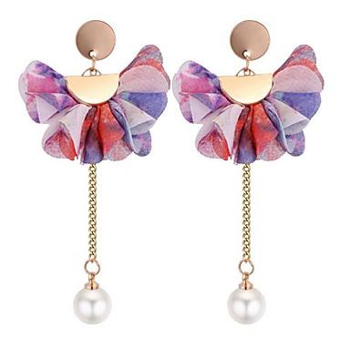 Pentru femei Cercei Picătură - Imitație de Perle Floare Boem, Dulce, Modă Galben / Curcubeu / Roz Pentru Zilnic Școală