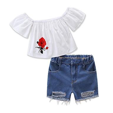Copii Fete Mată Manșon scurt Set Îmbrăcăminte