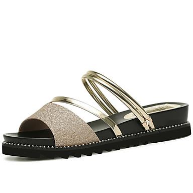 Pentru femei Pantofi Imitație Piele Primavara vara Confortabili Sandale Toc Platformă Auriu / Argintiu / Party & Seară