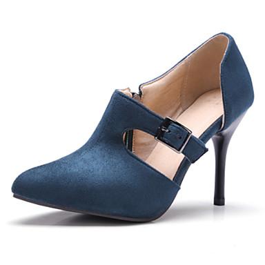 Pentru femei Pantofi Piele de Căprioară Primăvară / Toamnă Balerini Basic Tocuri Toc Stilat Vârf ascuțit Negru / Albastru / Roșu Vin