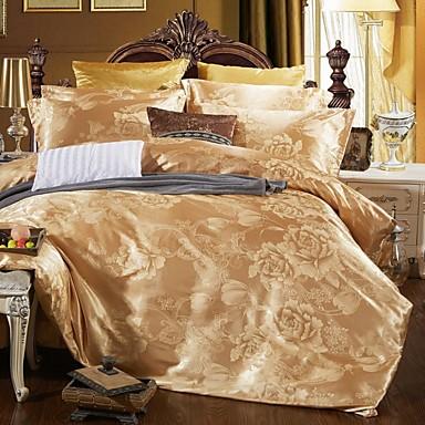 Povlečení Luxus Směs hedvábí a bavlny Žakár 4 kusyBedding Sets / 4 ks (1 x povlak na přikrývku, 1 x prostěradlo, 2 x povlak)