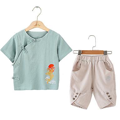 Copii Unisex Vintage / Chinoiserie Școală Mată / Imprimeu Imprimeu Manșon scurt Bumbac / In Set Îmbrăcăminte