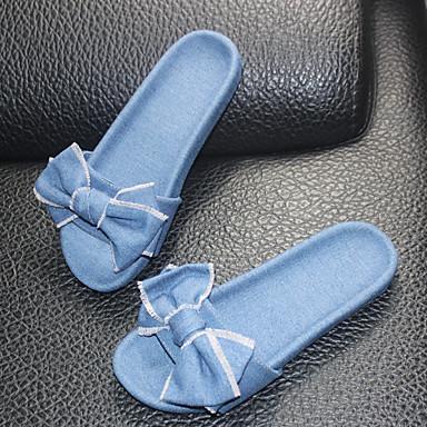 Mujer Zapatos flops Oscuro flip Tacón Verano Azul Zapatillas y 06752102 Confort Plano Vaquero Azul Claro FrnqSPdF