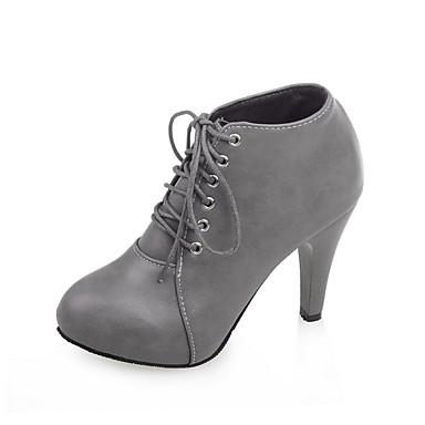 Pentru femei Pantofi PU Toamna iarna Cizme la Modă Cizme Toc Îndesat Vârf rotund Cizme / Cizme la Gleznă Negru / Bej / Gri