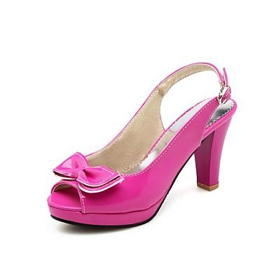 Pentru femei Pantofi PU Vară Pantof cu Berete Sandale Toc Îndesat Pantofi vârf deschis Funde Fucsia / Albastru / Roz