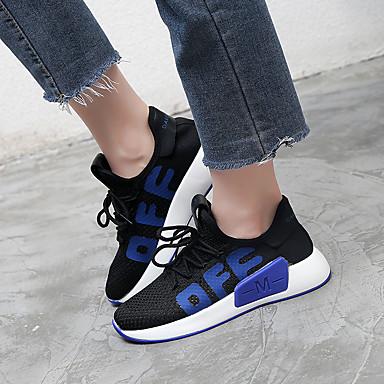 été rond Chaussures Marche Femme Blanc Plat Polyuréthane Talon d'Athlétisme Confort Chaussures 06751782 Slogan Noir Printemps Bout Maille IFS7dxS