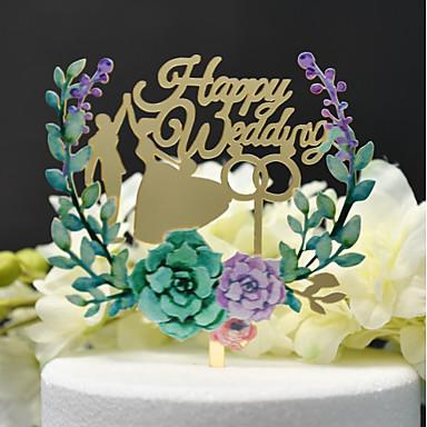 Vârfuri de Tort Temă Clasică / Nuntă Eliminat Acrilic / Poliester Nuntă / Aniversare cu Acrilic 1 pcs Cutie PVC