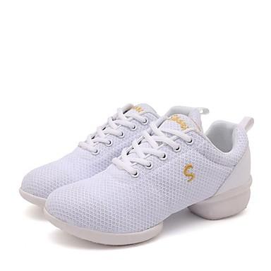 baratos Shall We® Sapatos de Dança-Mulheres Microfibra Tênis de Dança Têni Salto Grosso Personalizável Branco / Preto / Vermelho Escuro / Espetáculo / Ensaio / Prática