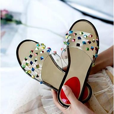 verano transparente 06770516 de Puntera Plano Confort Napa Sandalias Claro Tacón Cuero Primavera Goma Zapatos Zapato Mujer abierta Yp4agqx