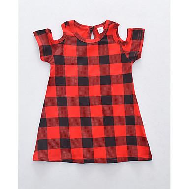 Bebelus Fete Negru & Roșu Plisat Manșon scurt Rochie
