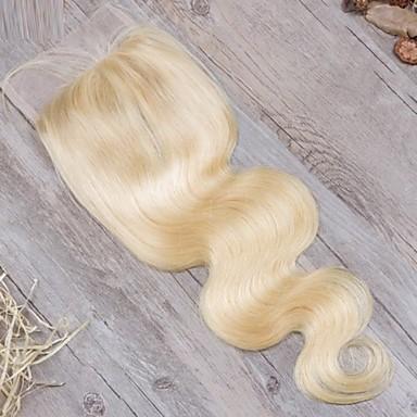 povoljno Perike i ekstenzije-Guanyuwigs Brazilska kosa 4x4 Zatvaranje Wavy Besplatno dio / Središnji dio / 3. dio Švicarska čipka Ljudska kosa Žene s dječjom kosom / Nježno / Žene Dnevno / Plavuša / Plavuša
