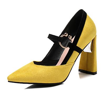Pentru femei Pantofi Piele de Căprioară Vară Balerini Basic Tocuri Toc Îndesat Vârf ascuțit Galben / Maro / Rosu / Nuntă / Party & Seară