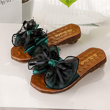 Negro Pajarita flops Dedo Zapatos Verano flip y Plano Tacón Verde 06729801 Mujer PU Zapatillas redondo Confort xqOwnnAaU