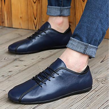 Bărbați Pantofi Piele Vară Confortabili Oxfords Alb / Albastru Închis / Galben