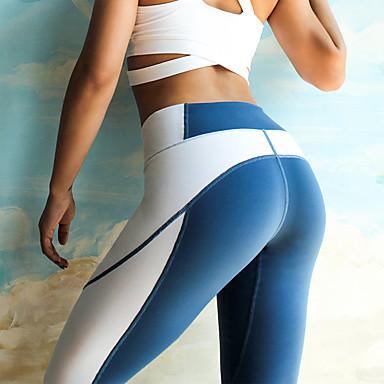 Kadın's Kırk Yama Yoga Pantolonları Mavi Gri Spor Dalları Splandeks Yüksek Bel Bisiklet Tayt Tozluklar Zumba Pilates Fitness Aktif Giyim Hafif Nefes Alabilir Hızlı Kuruma Streç / Popo Kaldırma / Kış