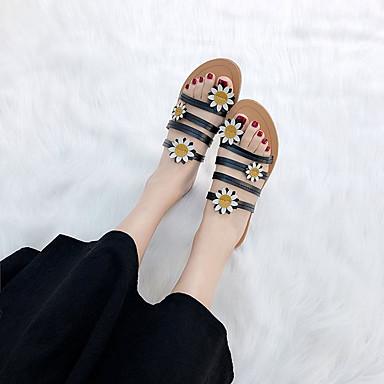 06750827 PU flip flops Zapatos Negro Plano y Frontal Blanco Zapatillas Anillo Tacón Verano Mujer OAUwaq