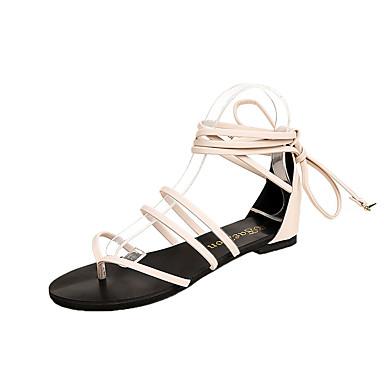 Pentru femei Pantofi PU Vară Pantofi pe Gleznă Sandale Toc Drept Negru / Bej