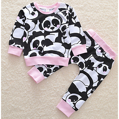 5a13266d838 Μωρό Κοριτσίστικα Βασικό Καθημερινά Στάμπα Μακρυμάνικο Κοντό Πολυεστέρας  Σετ Ρούχων Μαύρο / Νήπιο