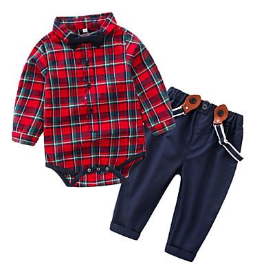 Bebelus Băieți De Bază Plisat Manșon Lung Set Îmbrăcăminte / Copil