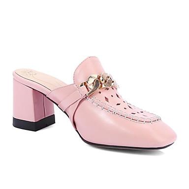 des chaussures en cuir summer sandale sabots sabots sabots et nappa mules chunky talon bouts carrés blanc / rose 2ac3ad