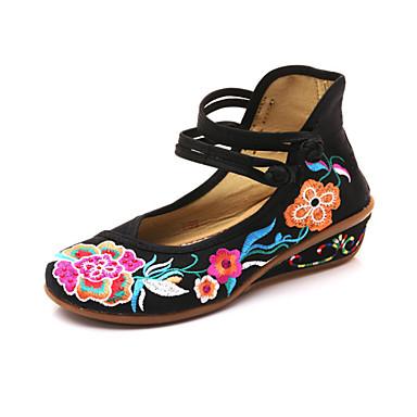 Bailarinas Primavera Mujer verano Rojo Tacón Blanco Hebilla Otoño Zapatos Confort invierno Dedo redondo Cuña 06751787 Tela Negro 0qqrpA