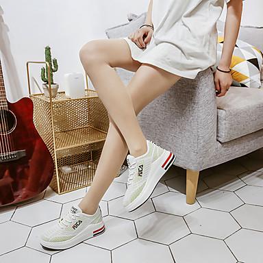 d'Athlétisme Polyuréthane Noir Talon Confort Bout rond Marche été Maille Chaussures Vert Chaussures Blanc 06752120 Slogan Plat Femme Printemps qw06zEWR