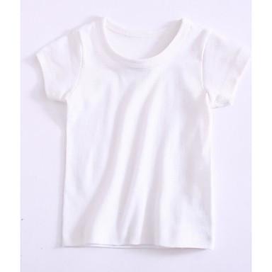 Bambino Da Ragazza Essenziale Quotidiano Tinta Unita Manica Corta Poliestere T-shirt Bianco - Bambino (1-4 Anni) #06739533