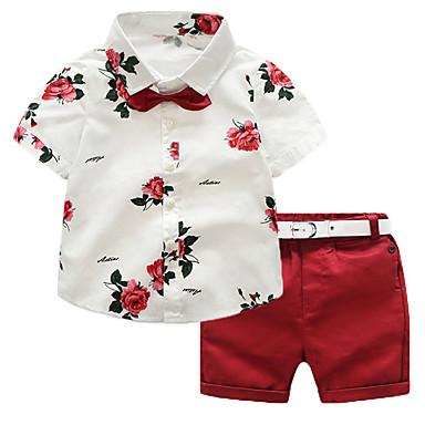 e80c7cee45929 Toddler Genç Erkek Actif / Temel Tatil / Dışarı Çıkma Solid / Çiçekli Desen Kısa  Kollu Normal Normal Pamuklu / Suni İpek / Polyester Kıyafet Seti YAKUT