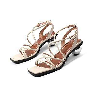 Talon Sandales 06758462 hétérotypique Cuir Nappa Blanc Eté Chaussures Noir Confort Femme HaYqvXnK