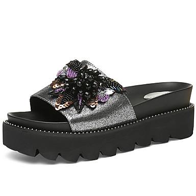 Pentru femei Pantofi Piele Originală Vară Confortabili Papuci & Flip-flops Creepers Piatră Semiprețioasă / Paiete Negru / Argintiu