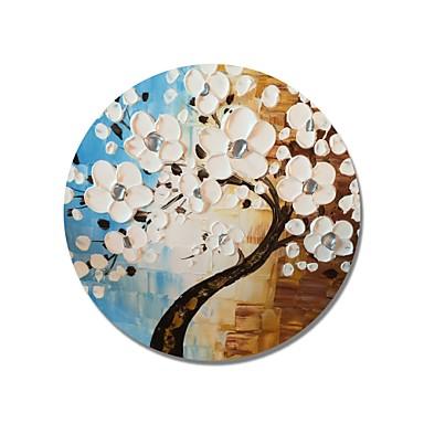 stildecor® mână modernă pictat cadru abstract circular albastru și maro fundal cu argintiu pistil alb pe panza împachetată
