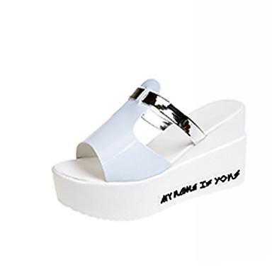 Pentru femei Pantofi PU Vară Pantof cu Berete Sandale Toc Platformă Alb / Negru / Albastru