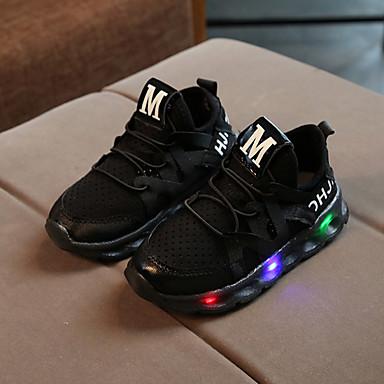 voordelige Babyschoenentjes-Jongens / Meisjes Comfortabel / Oplichtende schoenen Netstof / PU Sneakers Veters / LED Wit / Zwart / Roze Lente & Herfst / Lente zomer