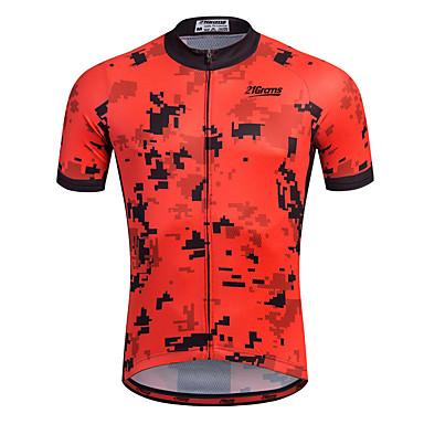 21Grams Hombre Manga Corta Maillot de Ciclismo - Rojo Bicicleta Camiseta / Maillot, Secado rápido, Transpirable, Bandas Reflectantes / Elástico / Reductor del Sudor