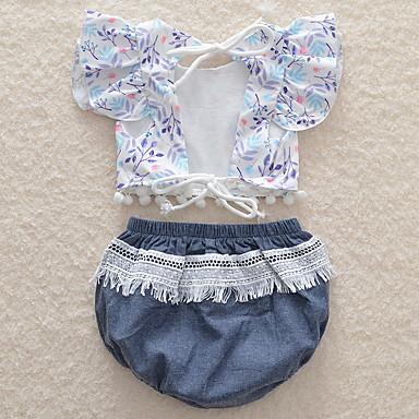 Bebelus Fete Activ Plajă Imprimeu Manșon scurt Scurt Bumbac Set Îmbrăcăminte / Copil