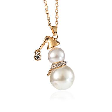hesapli Moda Kolyeler-Kadın's Uçlu Kolyeler Kalın Zincir Mutlu Bayan Tatlı İmitasyon İnci Yapay Elmas alaşım Altın Gümüş 70+5 cm Kolyeler Mücevher 1pc Uyumluluk Noel Günlük