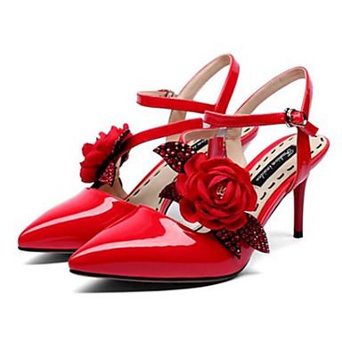 Aiguille Noir 06766523 Eté Escarpin Confort Sandales Talon Basique Printemps Chaussures Nappa Femme Amande Rouge Cuir wRW6xBAvPq