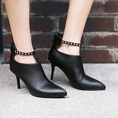 Talon Botte hiver 06729277 Femme Vin Bottine Aiguille Polyuréthane Automne Chaussures pointu Bout Noir Demi Botillons Bottes q7RHYw
