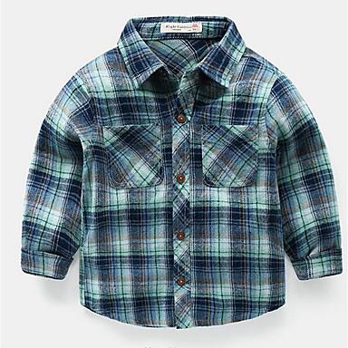 Bambino Da Ragazzo Essenziale A Quadri Manica Lunga Poliestere Camicia Blu #06724714 Impermeabile, Resistente Agli Urti E Antimagnetico