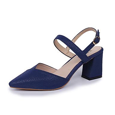 Pentru femei Pantofi PU Vară Pantof cu Berete Sandale Blocați călcâiul Negru / Rosu / Albastru / Party & Seară