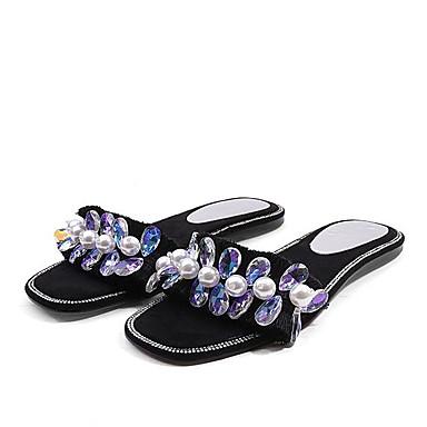 Noir Femme ouvert Strass Plat Gris Bout synthétique Talon Sandales Gland 06770409 Confort Chaussures Matière Eté Amande w7FqSpw