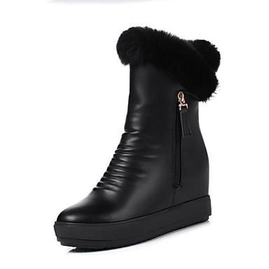 de rond Mi hiver Femme mollet Chaussures compensée Bottes semelle Plume Polyuréthane Blanc Bottes Bottes de Noir Automne neige Bout 06769674 Hauteur gqnXO1nA